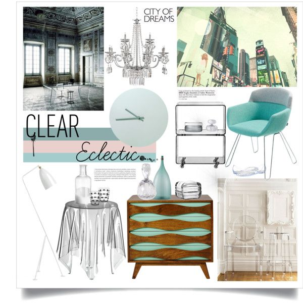"""""""Clear Eclectic Interior Design"""" by pixers on Polyvore #pastel #turquoise #clear #furniture #interior #design #interiorstyling #pixers"""
