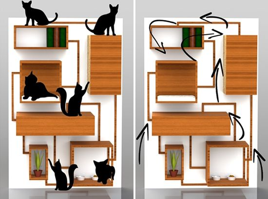 Designer Spase Janevski used 3-D modeling tools to envision this fabulous multi-function cat climbing wall. Not available for sale, this concept shows various levels of climbing and lounging platforms integrated with storage and vertical scratching surfaces.