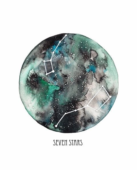 Seven Stars / Big Dipper / Little Dipper / constellations / stars / green, teal, black/Watercolor Print on Etsy, $20.00