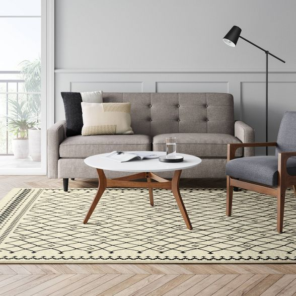 Oxmoor Grid Tribal Area Rug Black Ivory Project 62 In 2020 Furniture Styles Furniture Geometric Area Rug