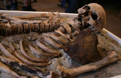In 2012, Bulgarian archeologists claim to have found a vampire skeleton in the Black Sea town of Sozopol over the iron stick piercing the chest. Photo by BGNES Residents and guests of the Bulgarian capital Sofia can see the reconstructed faceof the vampire from Sozopol over the weekend and for few days next week in the National History Museum, NIM.