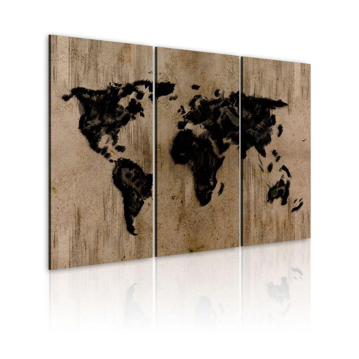 xxl format top bild leinwand 3 teilig weltkarte wandbilder 020113 72 120x80 cm. Black Bedroom Furniture Sets. Home Design Ideas