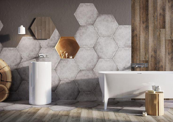 Glazed porcelain tiles Hexon, 60x52 cm. Super hot and trendy hexagonal tiles mixed with Madera tiles looking like oak (~120x20 cm).