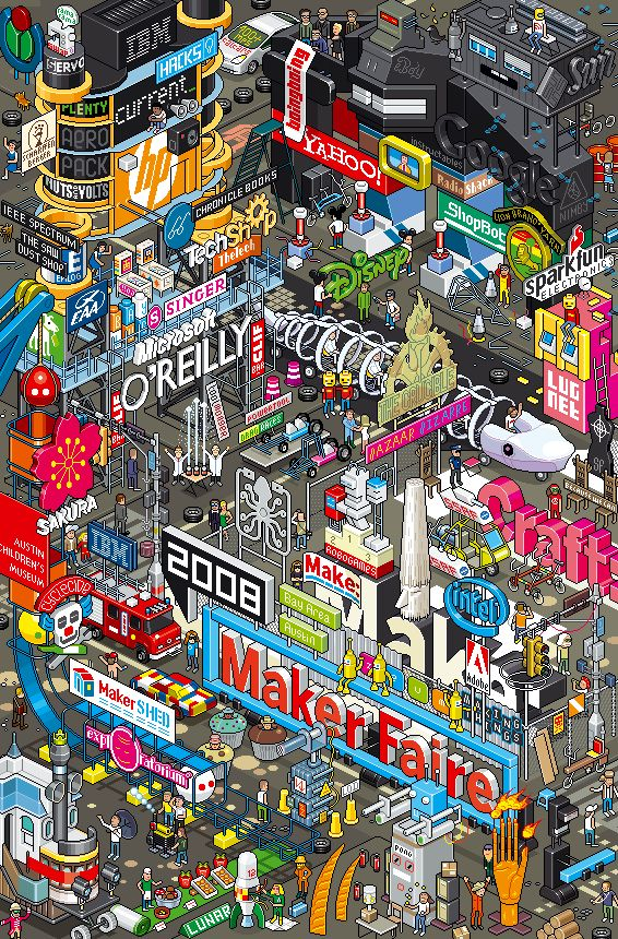 PixelsMarketPlace  By EBoy  Client: O'Reilly | Project: Maker Faire Poster, 2008