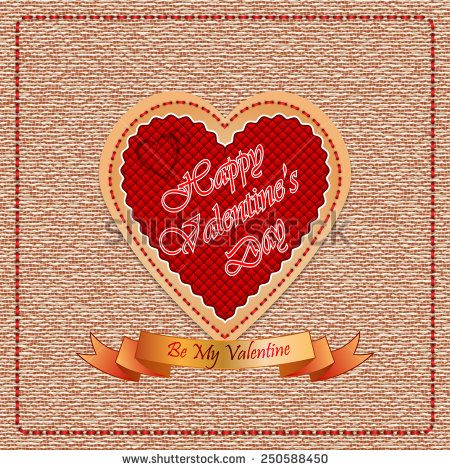 Vintage Happy Valentine's Day background with By My Valentine  text on ribbon, vintage linen/jute backdrop.