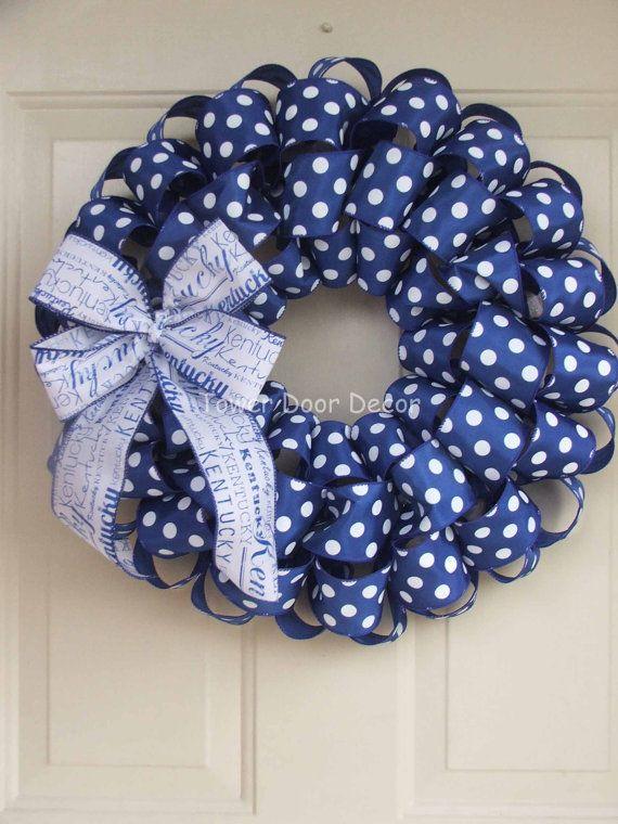 UK University of Kentucky  Blue Polka Dot Wreath by TowerDoorDecor, $35.00