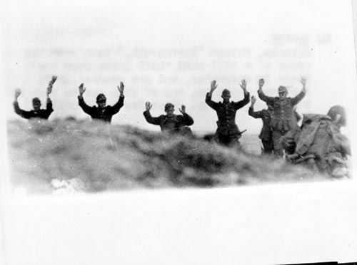 D-Day: The Normandy Invasion. German troops surrender to Soldiers during the Allied Invasion of Europe, D-Day, June 6, 1944