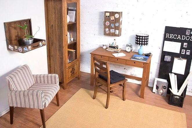 home-office-e-escritório-rústico-com-escrivaninha-de-madeira