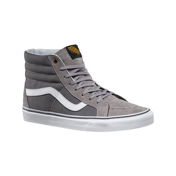 Vans Surplus Sk8-Hi Reissue - Frost Gray/Pewter Casual Shoes ($70) ❤ liked on Polyvore featuring shoes, sneakers, casual footwear, casual shoes, vans high tops, gray shoes, vans shoes, grip trainer and pewter shoes