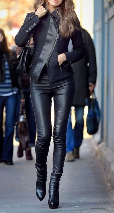 black all leather  asymmetrical zipper jacket  leather pants boots
