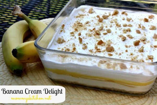 Mommy's Kitchen - Home Cooking & Family Friendly Recipes: Banana Cream Delight #bananas #foodholiday #dessert