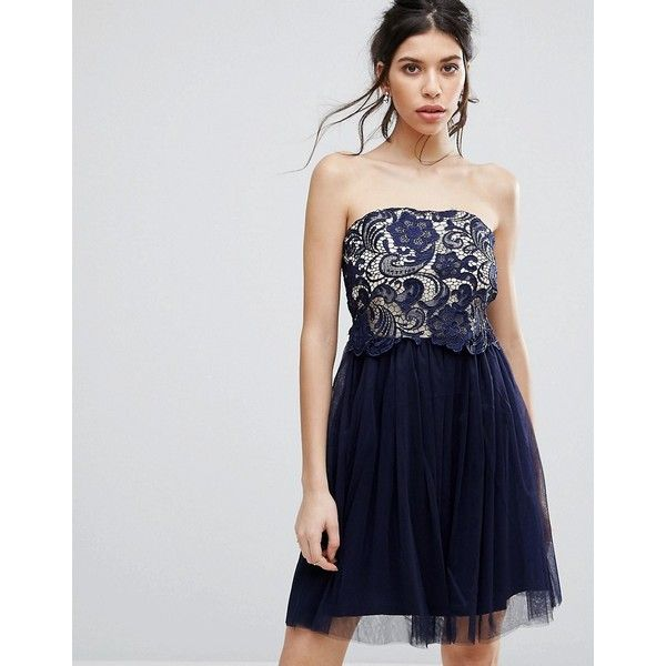 Little Mistress Lace Overlay Bandeau Prom Dress ($53) ❤ liked on Polyvore featuring dresses, navy, bandeau top, fit and flare dress, fit and flare cocktail dress, cocktail prom dress and navy dresses