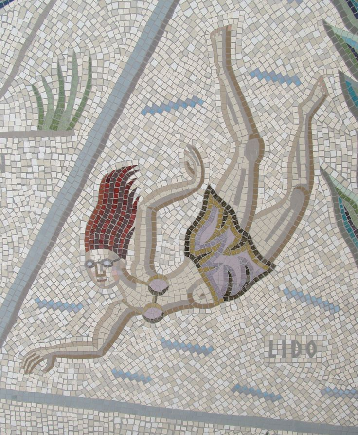 mosaic swimmer detail of shepherdess walk mosaic hackney london