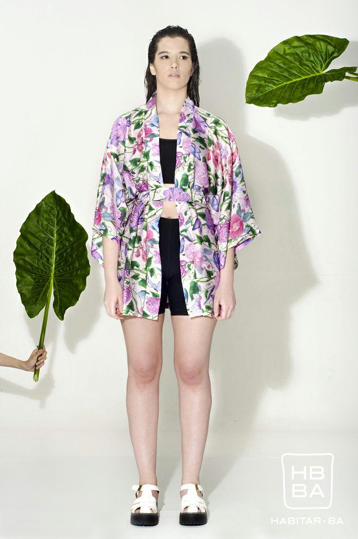 Bata kimono de seda. Print inspirado en Sueños de una noche de verano