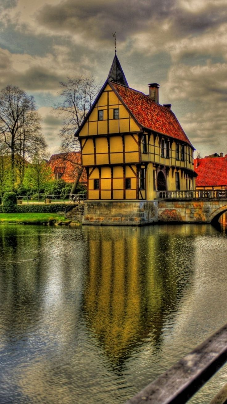germany, architecture, beauty, bridge, clouds, colorful, colors, grass, green, home, house, reflection, river, road, sky, town, trees, view, water, hdr