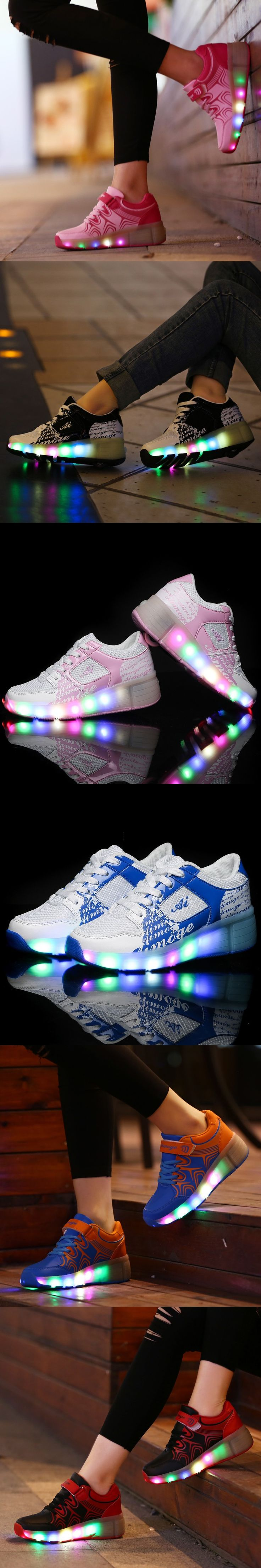 2016Children Heelys Wheels Shoes with Led Light New Brand Kids Roller Skate Sneakers Boys Girls Luminous Glowing Fashion Shoes