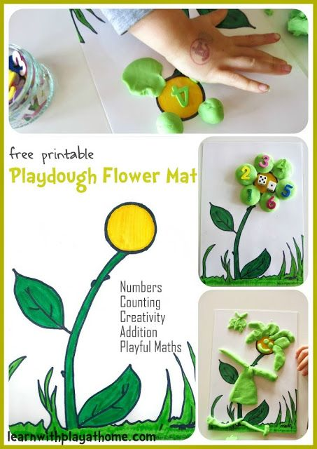 Learn with Play at Home: Playdough Flower Mat. Free Printable. Playful Maths.