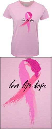 Love Life Hope Pink Ribbon T-Shirt at The Breast Cancer Site