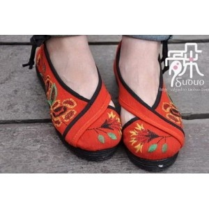 embroidered orange flats