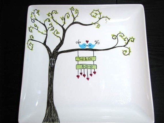 Hand Painted Platter Love Birds on Whimsical Tree by PrettyMyDrink, $45.00