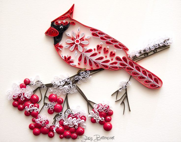 Quilled Northern Cardinal - by: Stacy Bettencourt-Mainely Quilling
