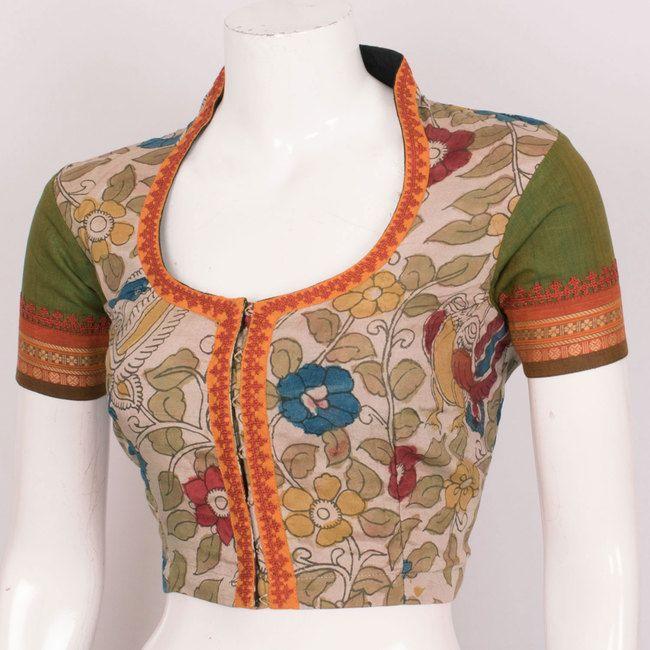 Hand Painted Pen Kalamkari Cotton Blouse With Embroidered Sleeve& Lining 10020282 - 40 - AVISHYA.COM