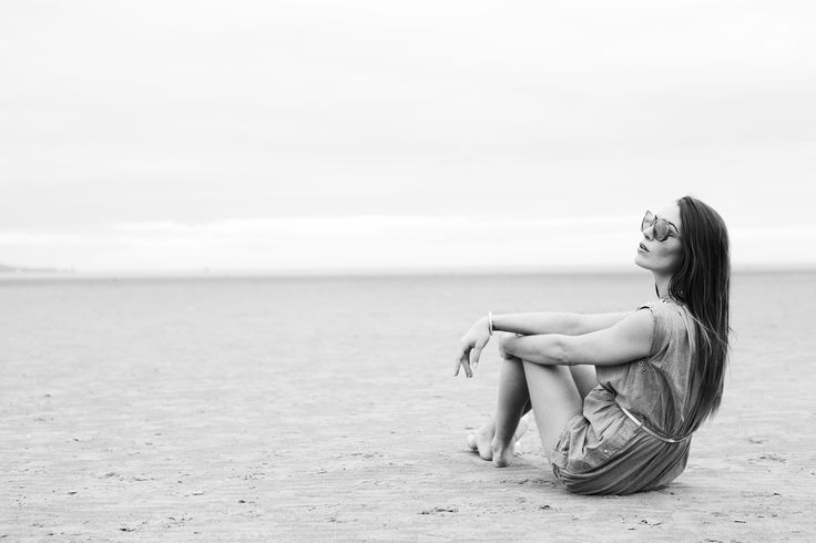 Model Chloe  on the beach Dublin  Black and White Fashion Photography
