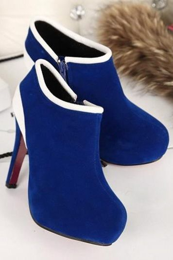 Chic Blue And White High Heel Fashion Ankle Boots