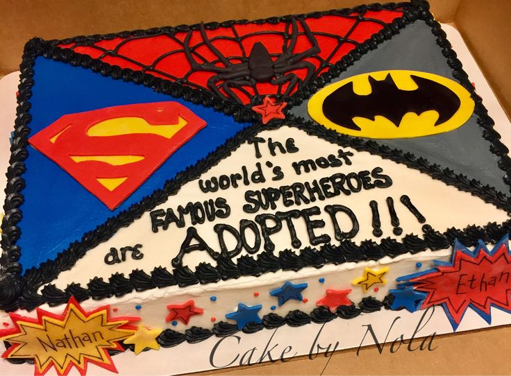 So happy for this family. From foster care to forever home...doesn't get any better than that! #cake #cakestagram #cakedecorating #sheetcake #sheetcakesdonthavetobeboring #fondanttoppers #superman #batman #spiderman