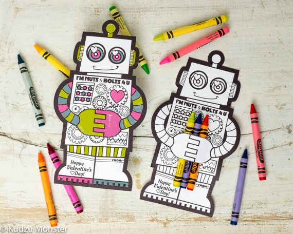 Robot Coloring Valentine With Crayon Holder Cute By KudzuMonster