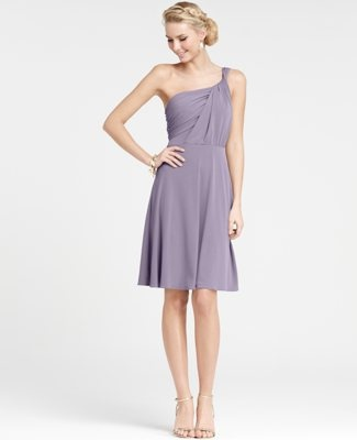 Jersey One Shoulder Bridesmaid Dress. Would look nice with a belt