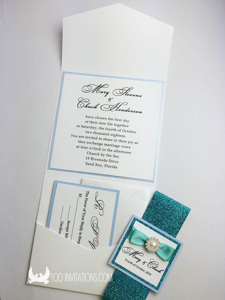 Peacock Glitter Pocket Wedding Invitations 74 best