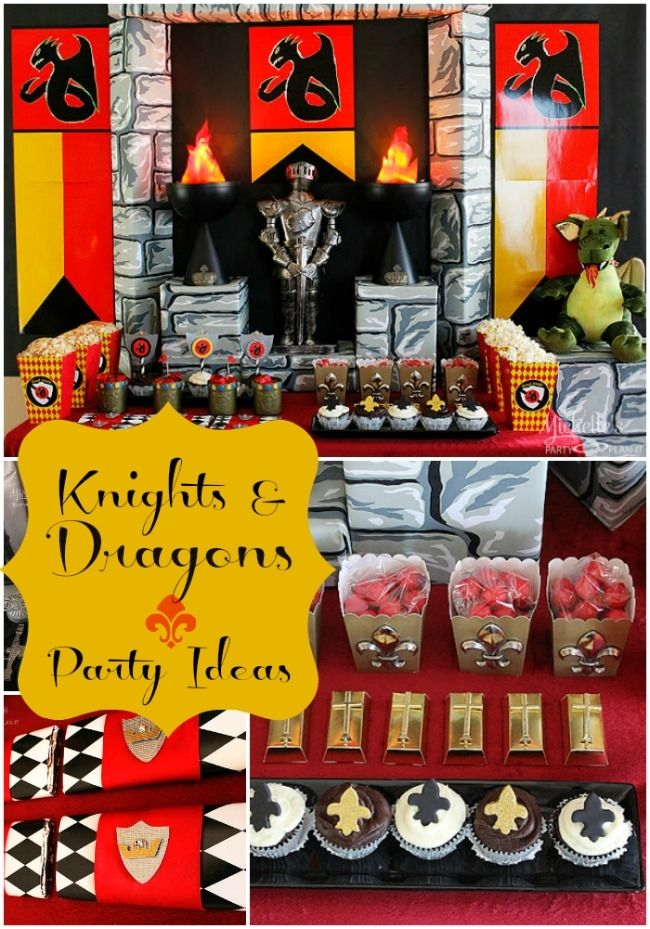 "Boy's party fights dragon…and wins! At least, that's the story of this Knights and Dragons fanciful birthday party! Michelle's Party Plan-It took the age-old theme of Knights and Dragons and brought it right into the 21st century. Michelle chose party supplies to present an impressive dessert table right under boldly colored dragon banners. A formidable knight is stationed in front of ""stone"" castle walls and flanked with ""flaming"" torches. Harlequin diamond decorations and fleur-de-lis…"