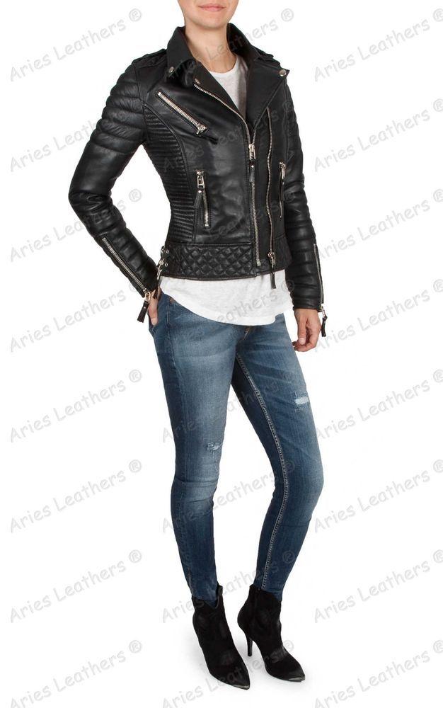 787862a34 New Women`s Genuine Lambskin Motorcycle Real Leather Slim fit Biker ...