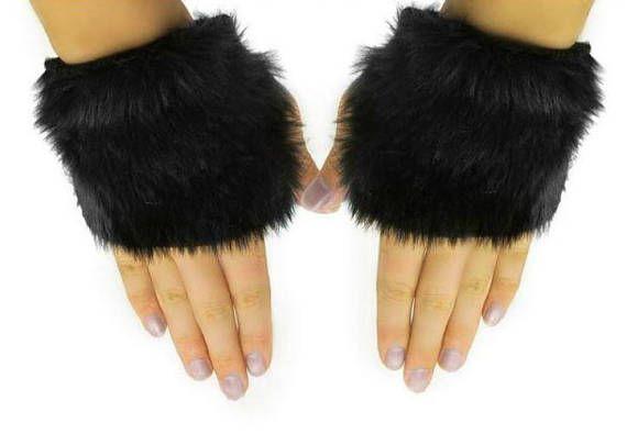 Black fingerless faux fur gloves faux fur gloves punk