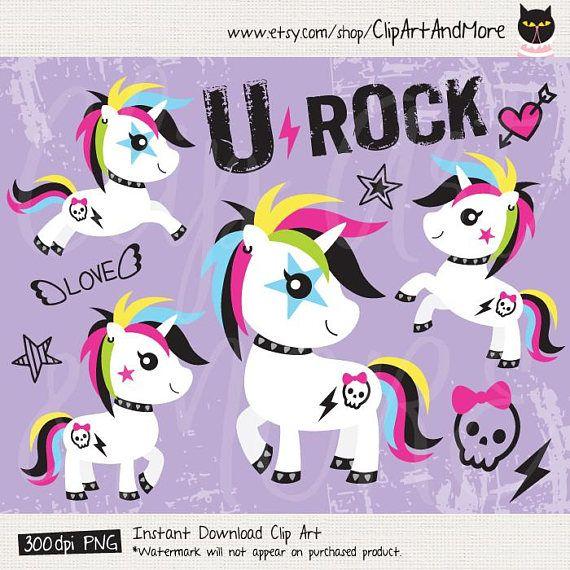 Unicorn Clip Art Punk Unicorn Funny Unicorn Rock Clipart Cute