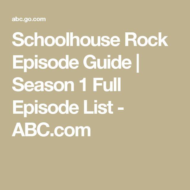 Schoolhouse Rock Episode Guide | Season 1 Full Episode List - ABC.com