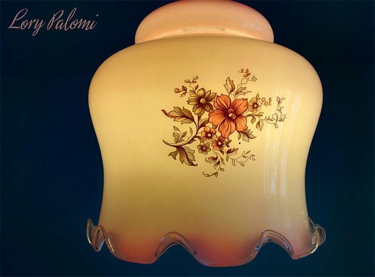PANTALLA PARA LAMPARA TECHO CRISTAL ROSA CON FLORES VINTAGE pink glass floral lampshade