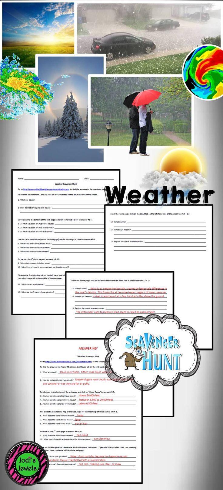 Internet Weather Scavenger Hunt Science Activities Middle School Science Activities