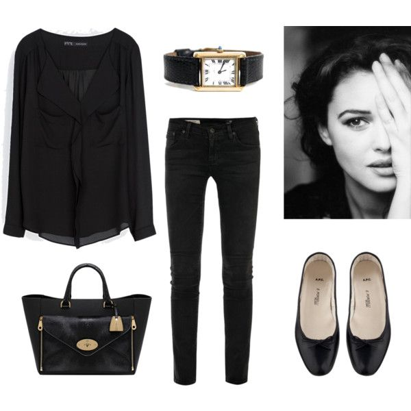 Such a grey day by trenchcoatandcoffee on Polyvore featuring Zara, AG Adriano Goldschmied, A.P.C., Mulberry, Cartier and french