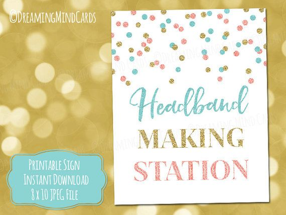 Printable Headband Making Station Sign 8x10 by DreamingMindCards