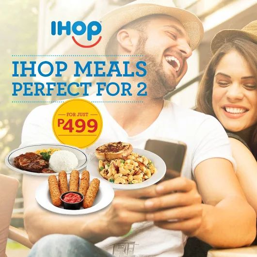 Dine at IHOP and check out the IHOP Meals Perfect For Two Promo!  Perfect Two-gether! Choose one appetizer and two main dishes from selected menu items for the price of P499 only!  Promo valid from June 6, 2016 – August 31, 2016 at all IHOP Philippines branches like Bonifacio Global City, Araneta Center, UPTown Center, SM Mall of Asia, Filinvest Alabang, and Century City Mall.  Terms and conditions apply.  http://mypromo.com.ph/