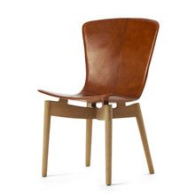 Mater - Shell Dining Chair, Eiche geseift Leder braun Eiche geseift T:48 H:89 B:46