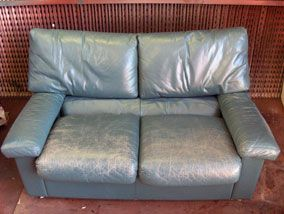 Worn Blue Leather Sofa - this site has a step by step to clean and restore worn leather.