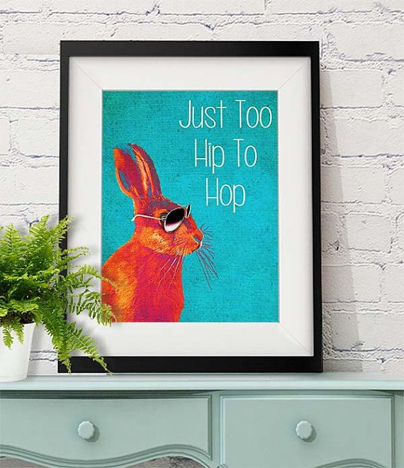 Too Hip To Hop Blue Rabbit Print Hare print Wall Art Wall Decor dorm room decor art print rabbit gift rabbit poster home decor