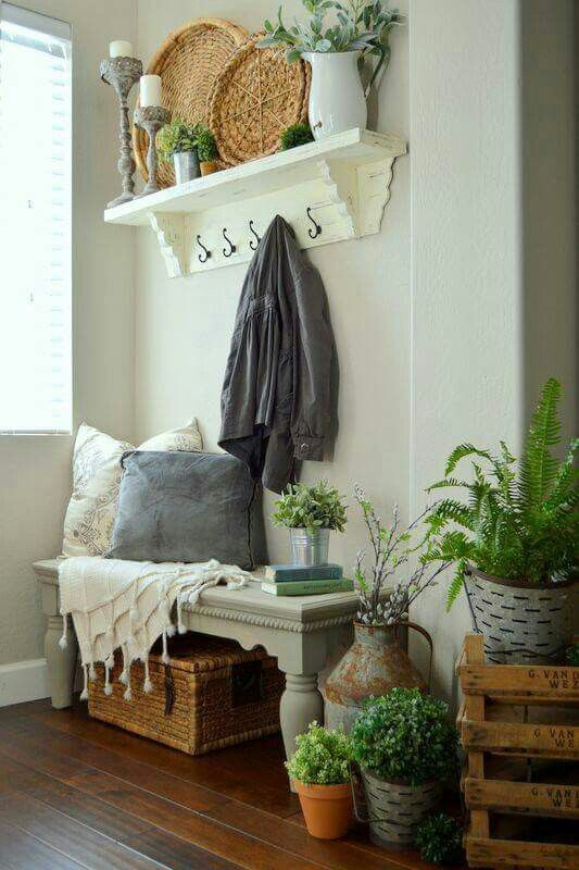 Dress up a bench for under the stairs!