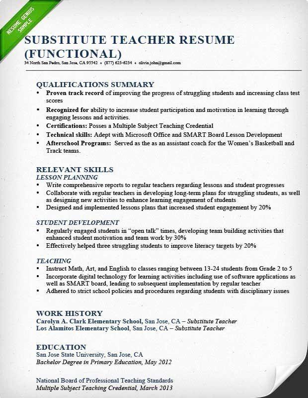 Free Sample Resume For Teachers Fresh Substitute Teacher Resume Sample Functional In 2020 Teacher Resume Examples Teaching Resume Teacher Resume