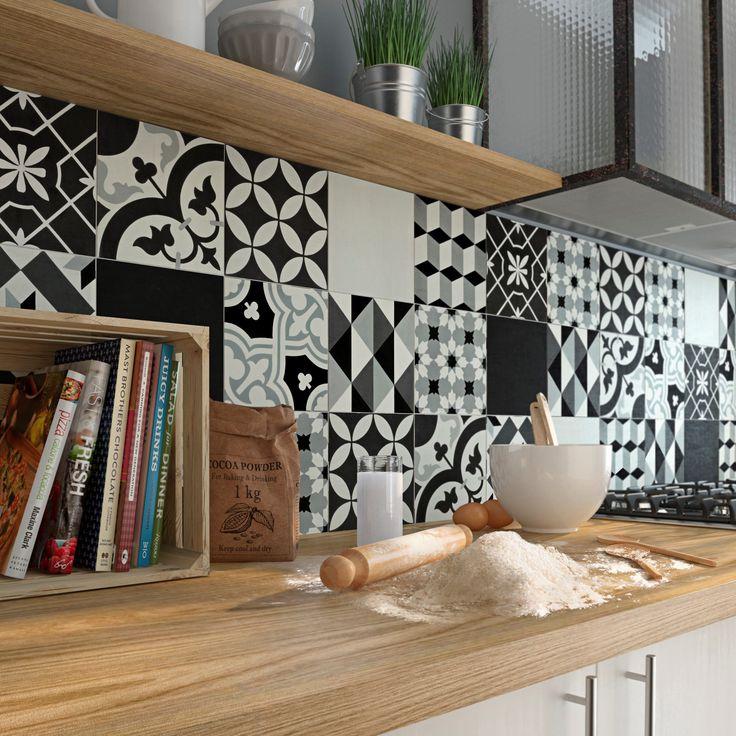 Carreau de ciment Belle époque décor emy gris, noir et blanc, l.20.0 x L.20.0 cm #leroymerlin #carreauxdeciment #carrelage #sol #mur #ideedeco #madecoamoi #blackandwhite