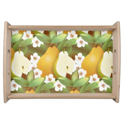 Hawaiian Tropical Pears Fruit Floral Botanical Serving Tray - floral style flower flowers stylish diy personalize