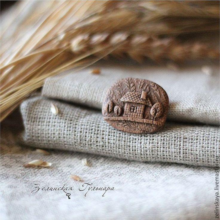 Купить Домик в деревне. Брошь - коричневый, домик в деревне, брошь домик, доброта, тепло, уют